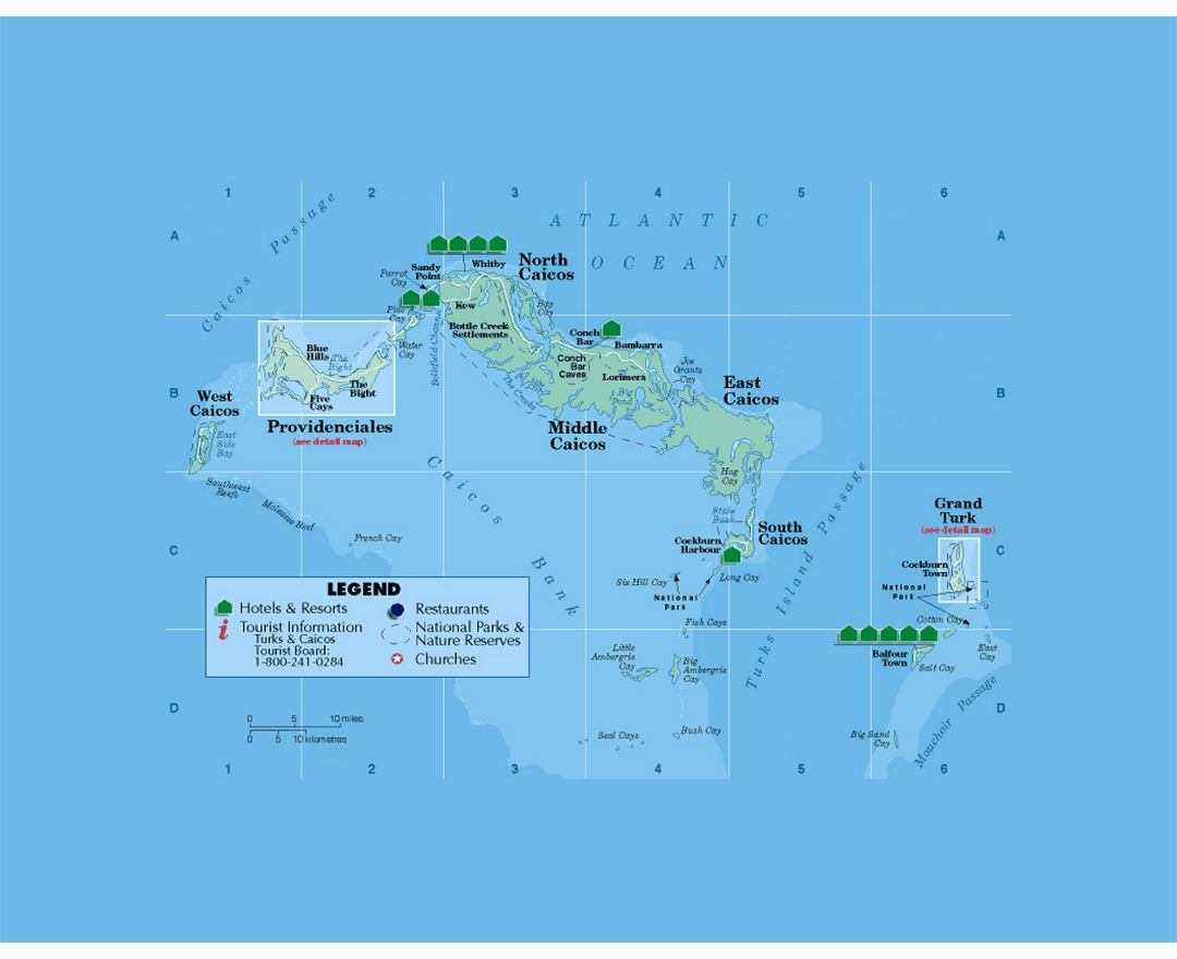 Tourist map of Turks and Caicos Islands