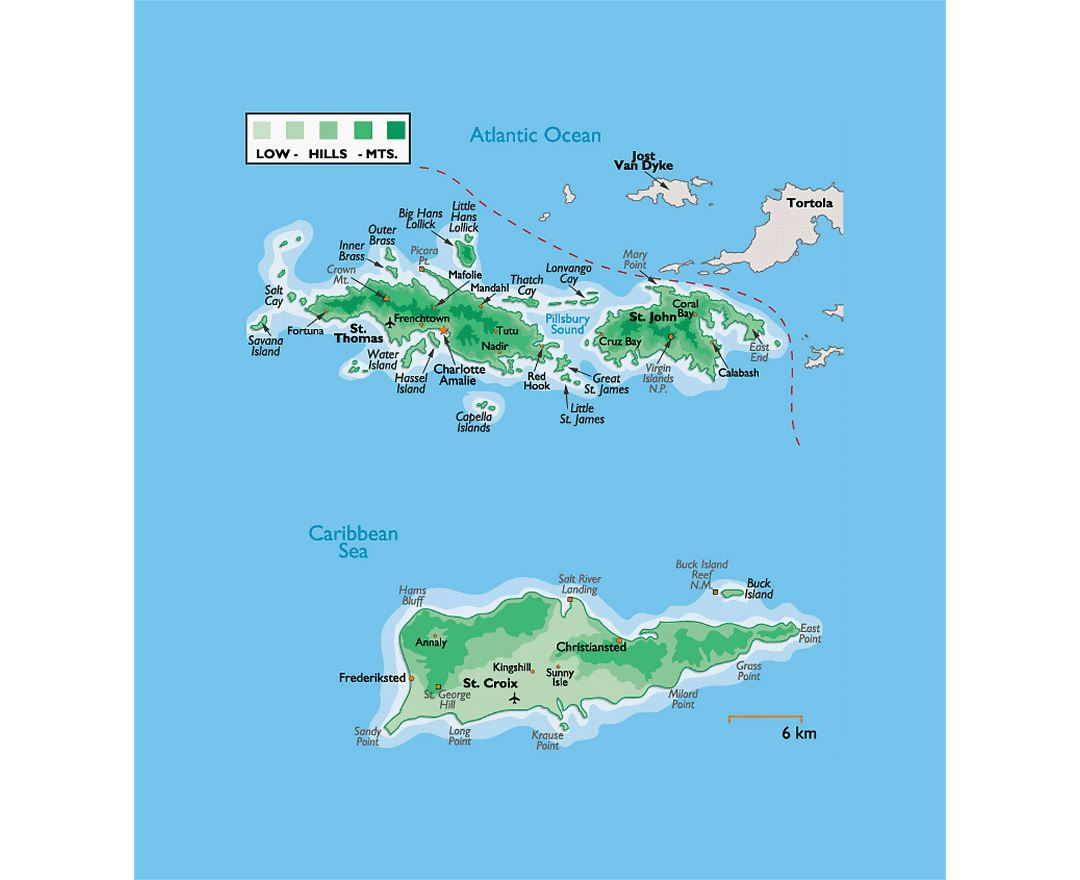 Detailed physical map of US Virgin Islands with other marks
