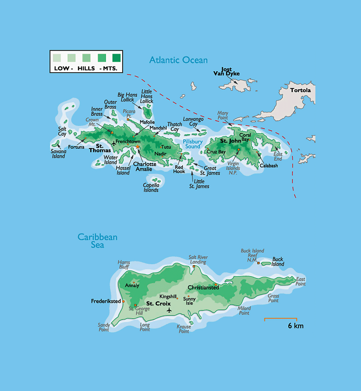 Detailed physical map of US Virgin Islands with other marks ...