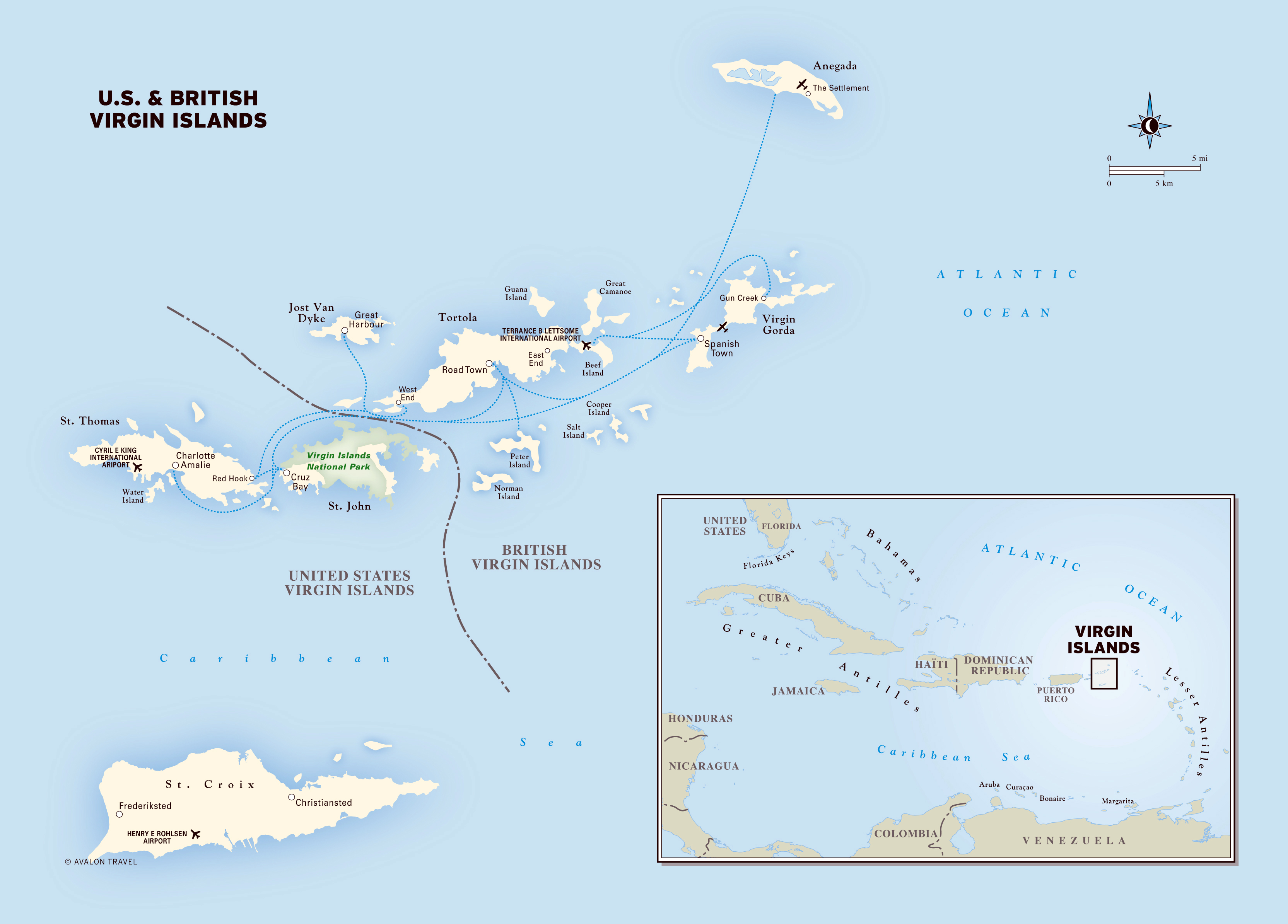 large detailed political map of virgin islands with other marks