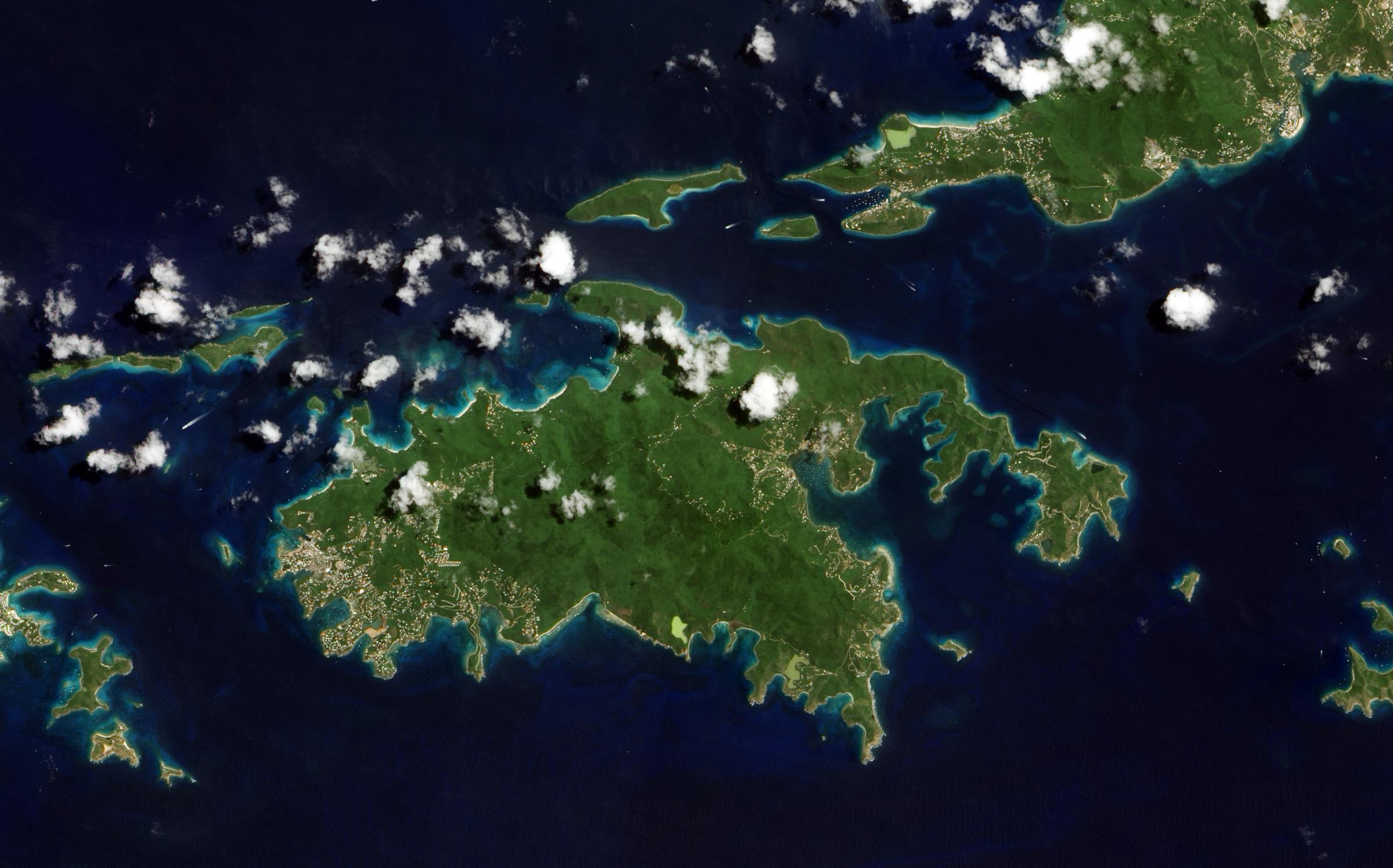 Large Detailed Satellite Map Of St John Island US Virgin Islands - World satellite map application