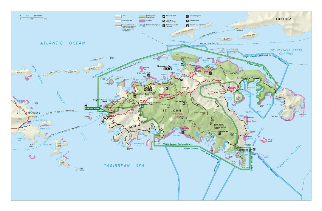 Large detailed tourist map of St. John, U.S. Virgin Islands