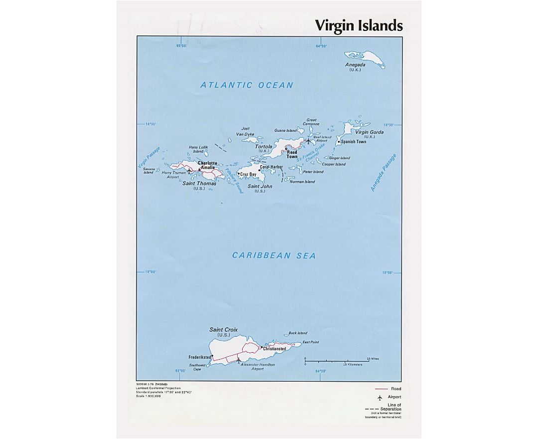 Large political map of Virgin Islands with roads, cities and airports - 1976