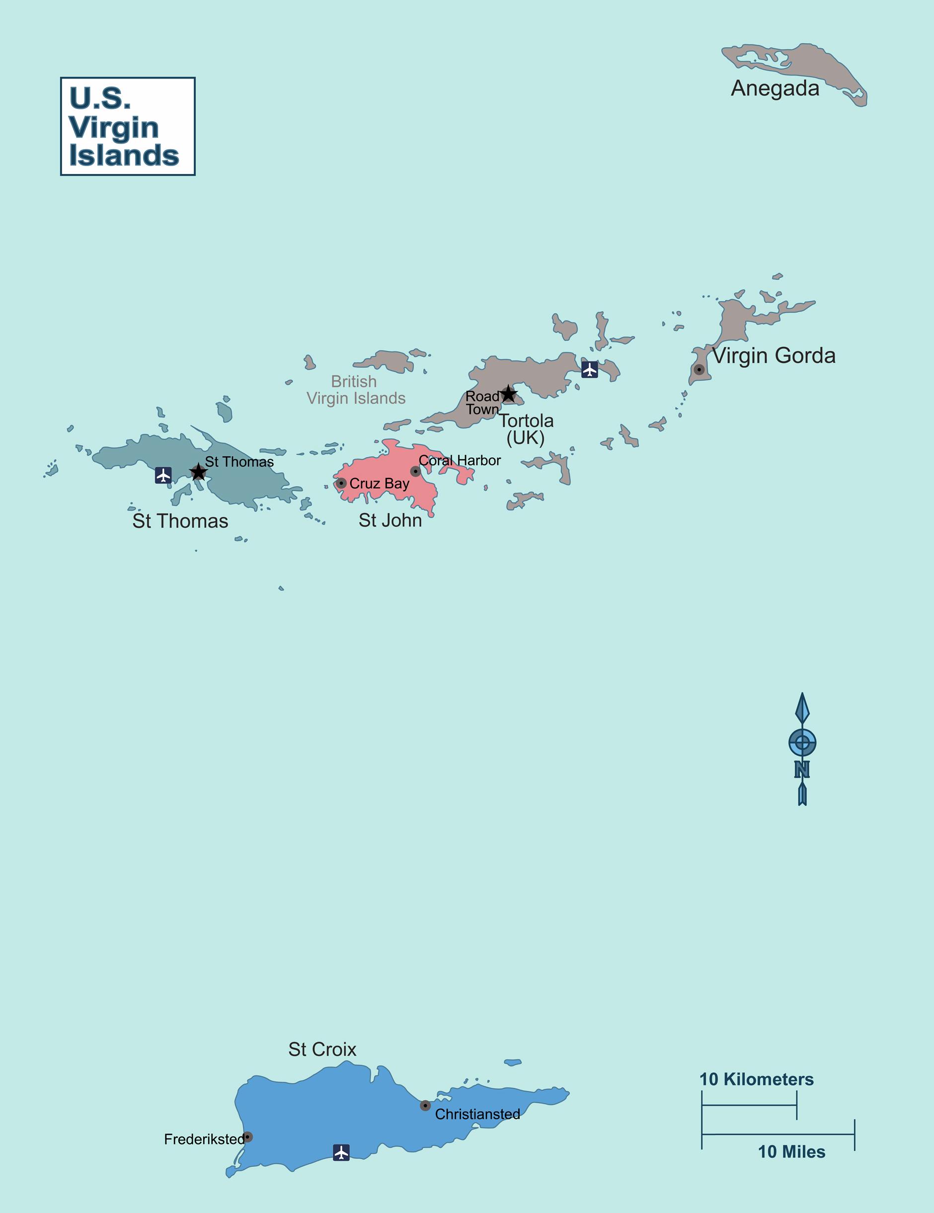 Large Regions Map Of Virgin Islands US Virgin Islands United - Map of british virgin islands and us virgin islands