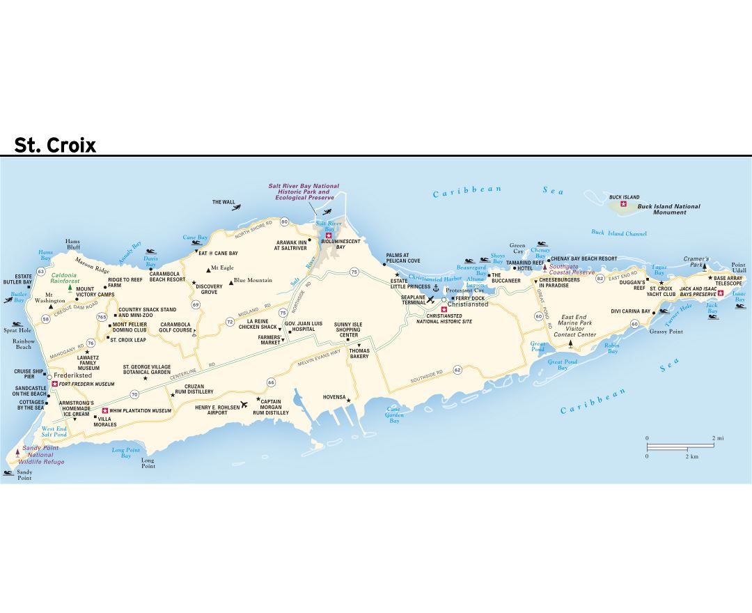 Maps of US Virgin Islands Detailed map of United States Virgin