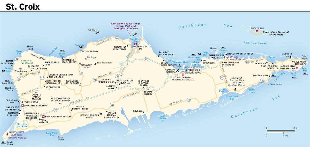 Large road map of St. Croix Island, US Virgin Islands with other marks