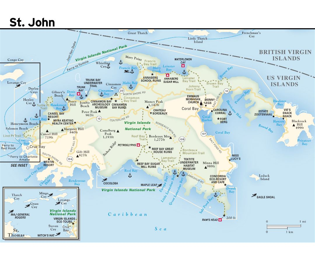 Large road map of St. John Island, US Virgin Islands with other marks