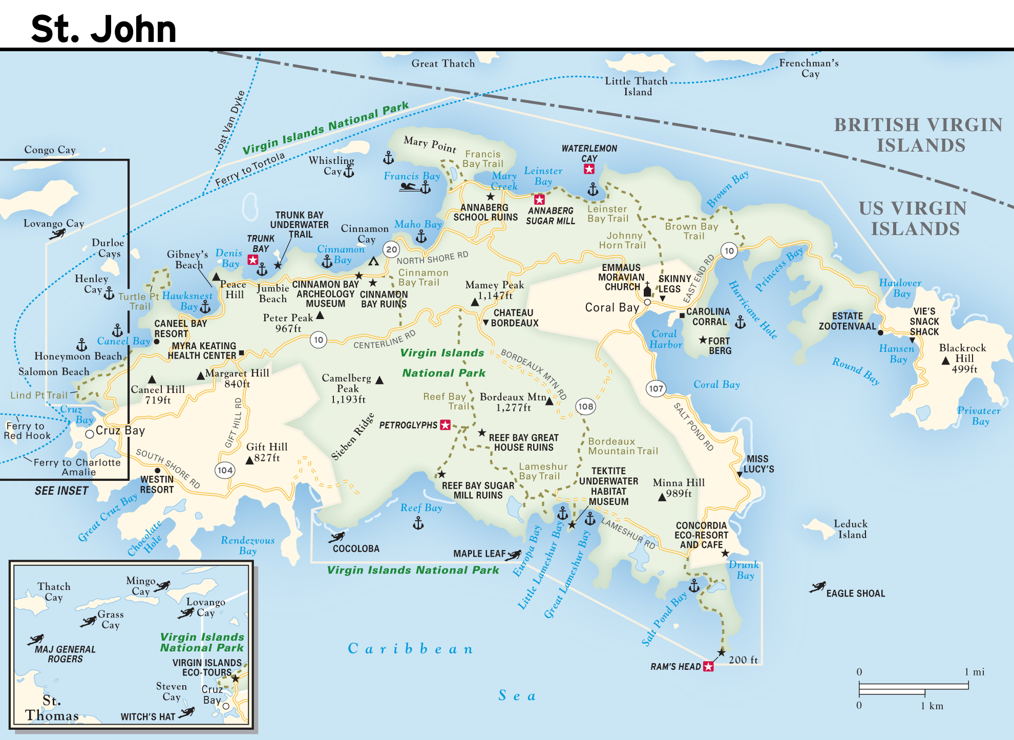 Large road map of St. John Island, US Virgin Islands with ...