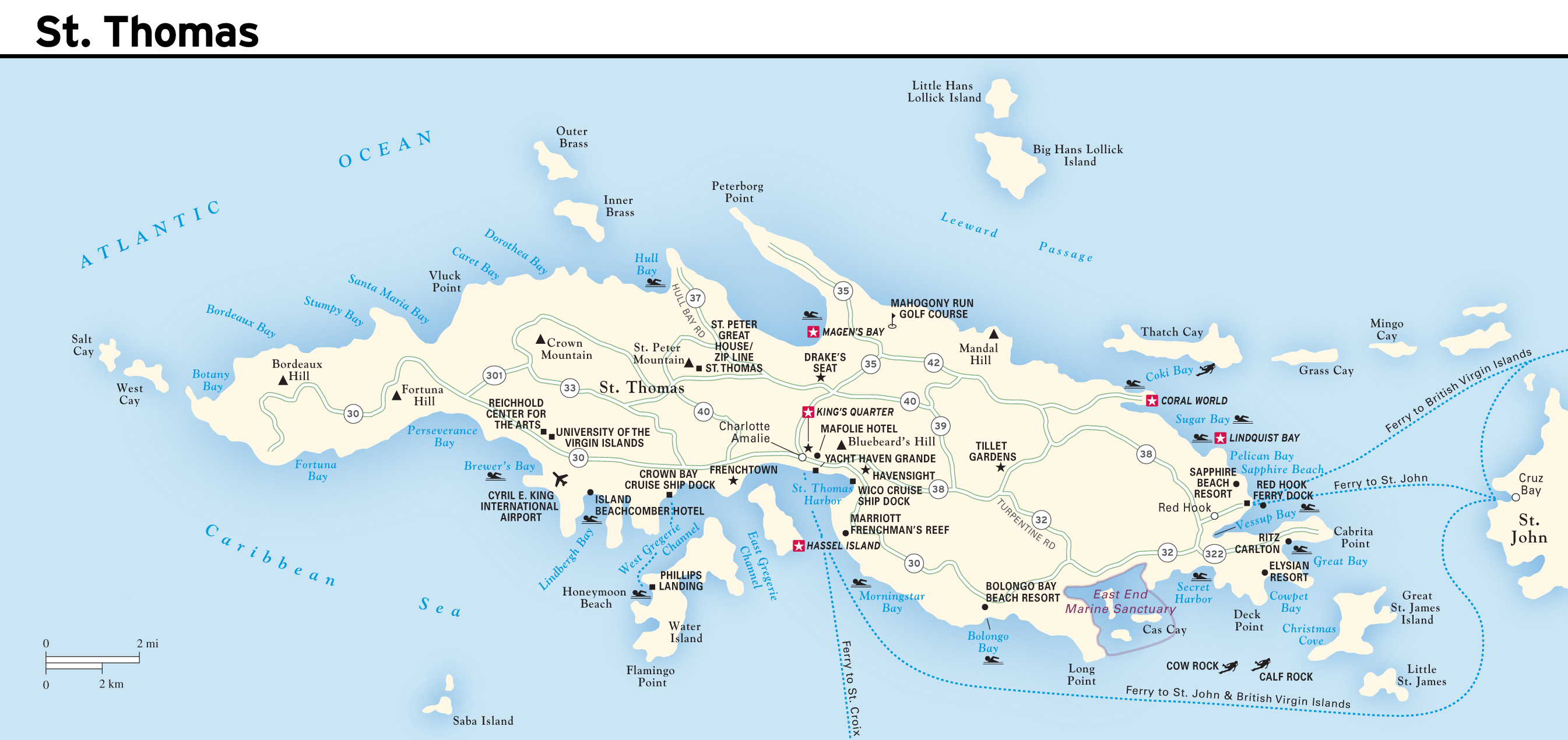 Large road map of St Thomas Island US Virgin Islands with other