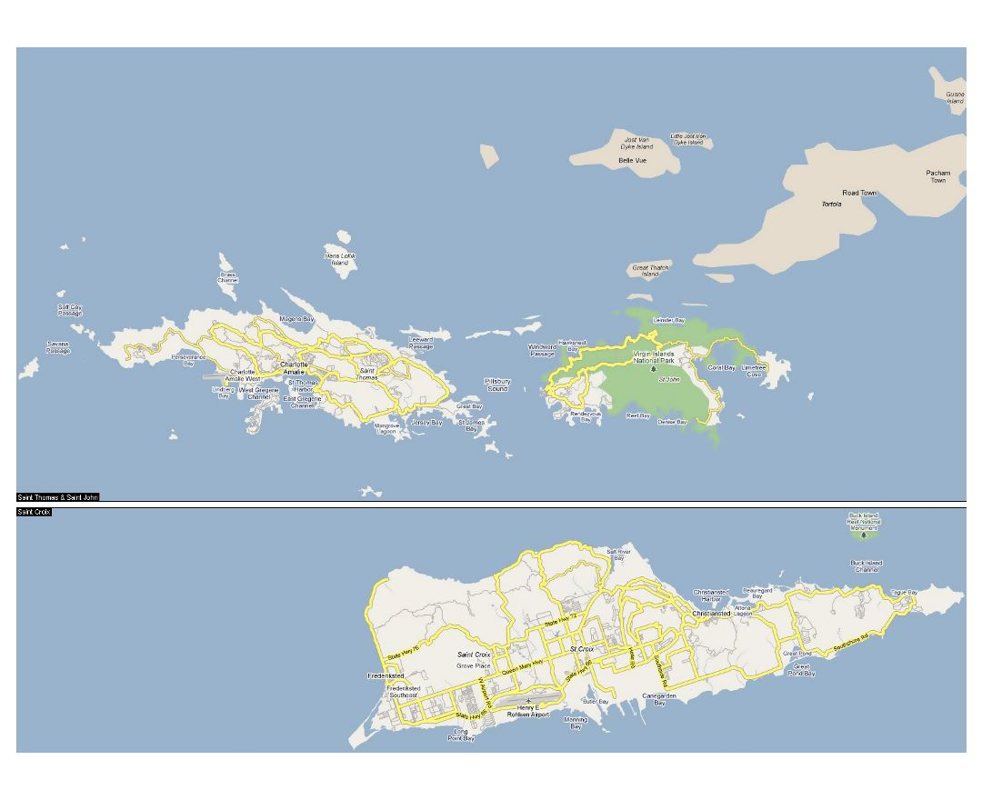 Large road map of US Virgin Islands