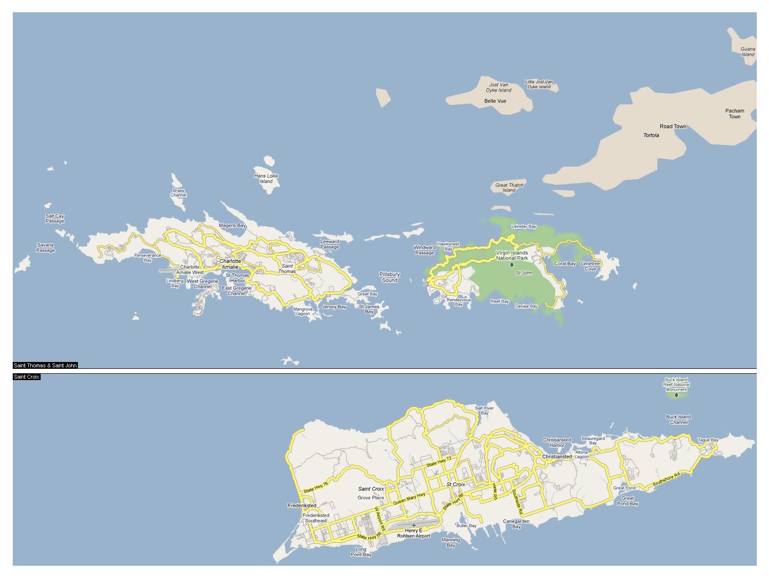Large Road Map Of US Virgin Islands US Virgin Islands United - Us map large