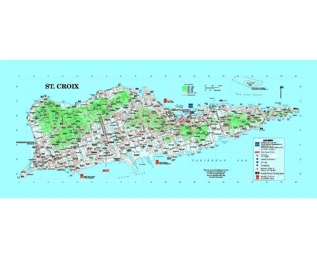large tourist map of st croix island us virgin islands