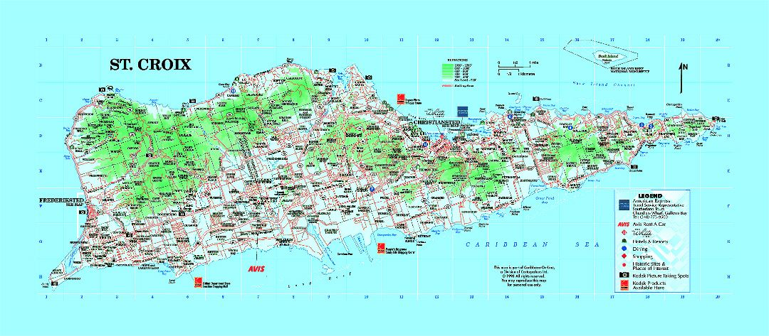 Large tourist map of St. Croix Island, U.S. Virgin Islands