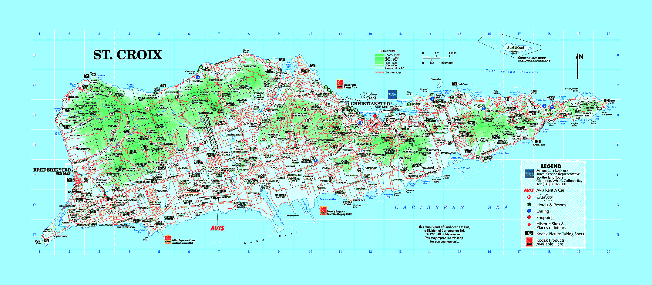 Large tourist map of St Croix Island US Virgin Islands US