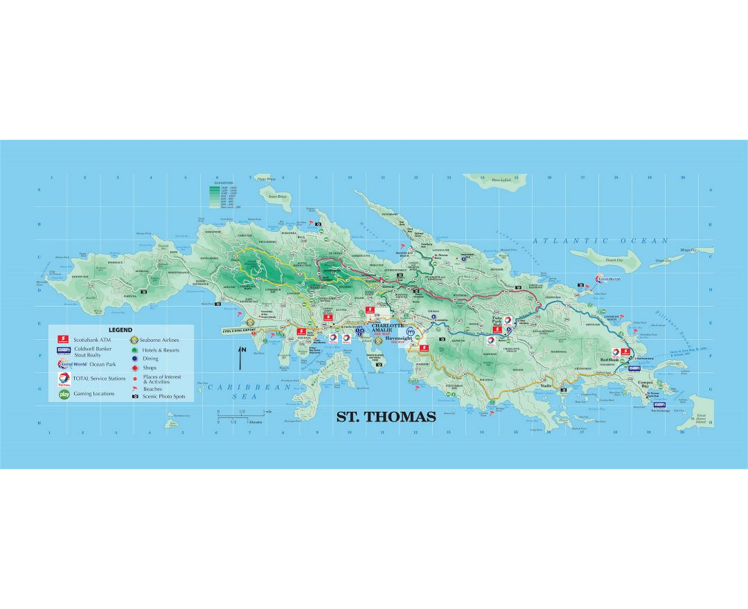 Large tourist map of St. Thomas, US Virgin Islands