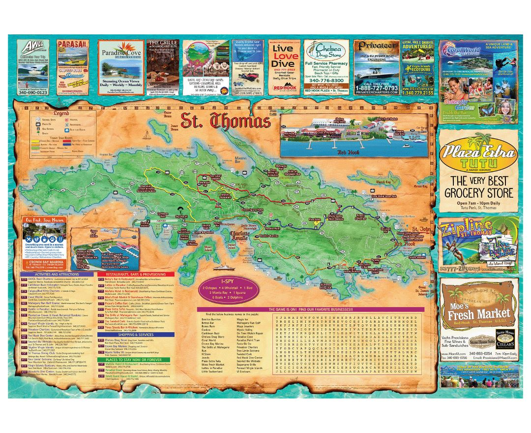 Large travel illustrated map of St. Thomas Island, US Virgin Islands