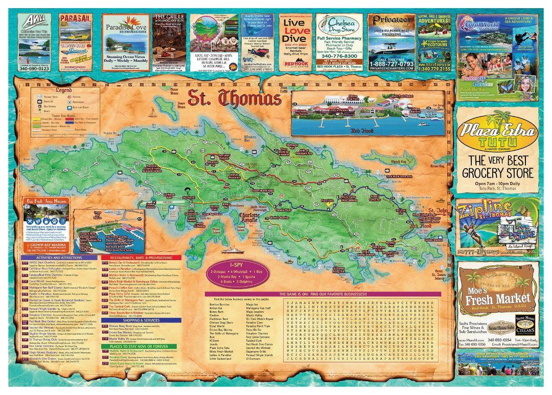 Large travel illustrated map of St. Thomas Island, US Virgin Islands ...