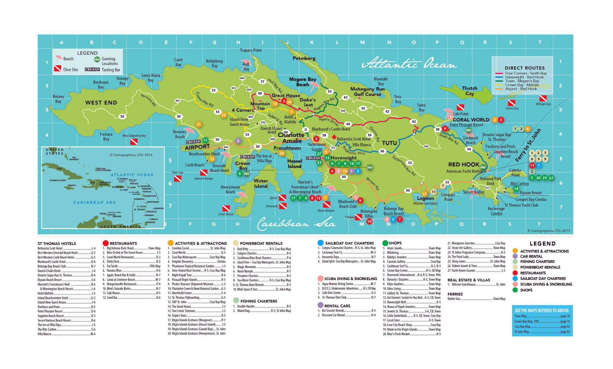 large travel map of st thomas island us virgin islands