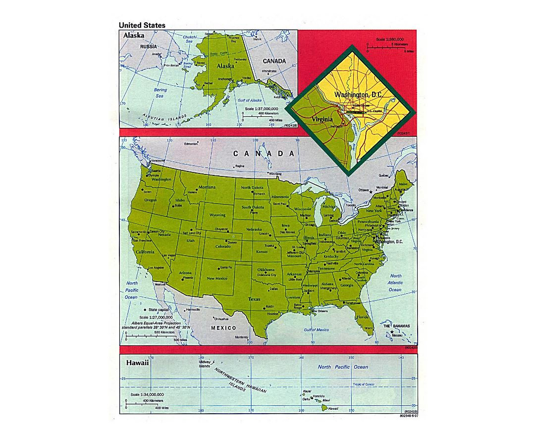 Detailed political and administrative map of the USA - 1997