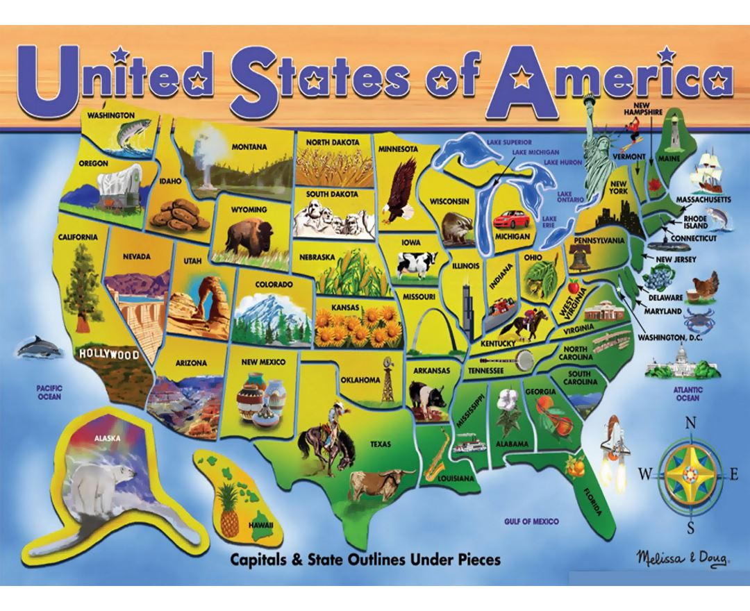 detailed tourist ilrated map of the united states of america