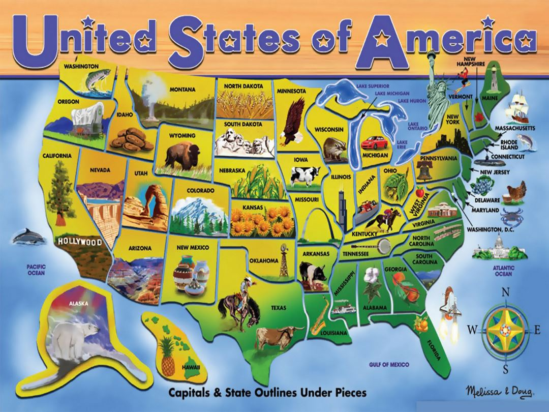 Detailed tourist illustrated map of the United States of America ...