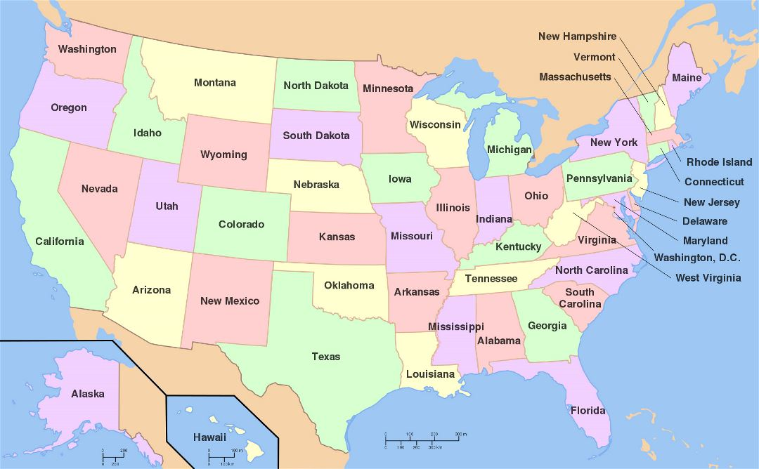 Large administrative map of the USA