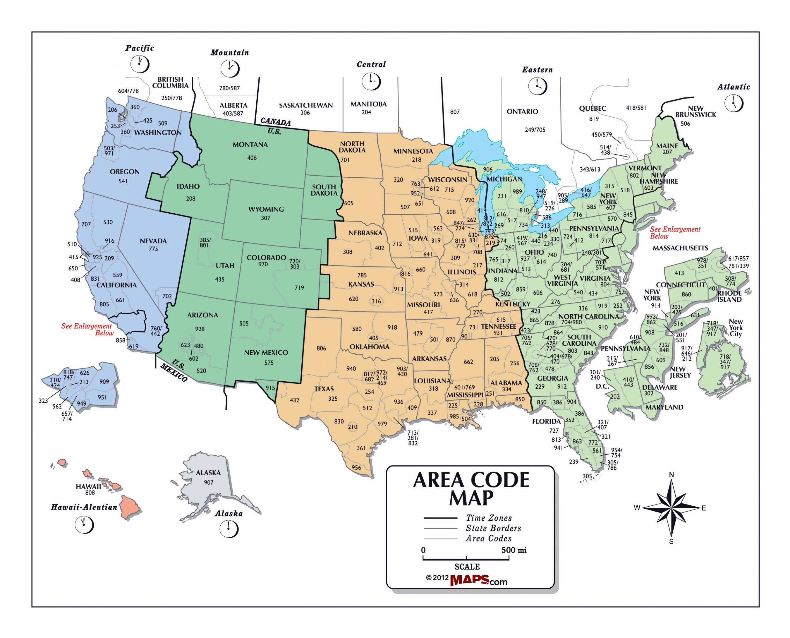 Large Area Code Map Of The USA USA United States Of America - Area codes usa map