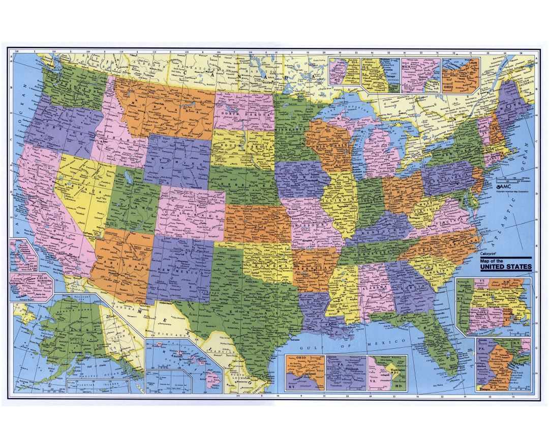 Large detailed administrative map of the USA