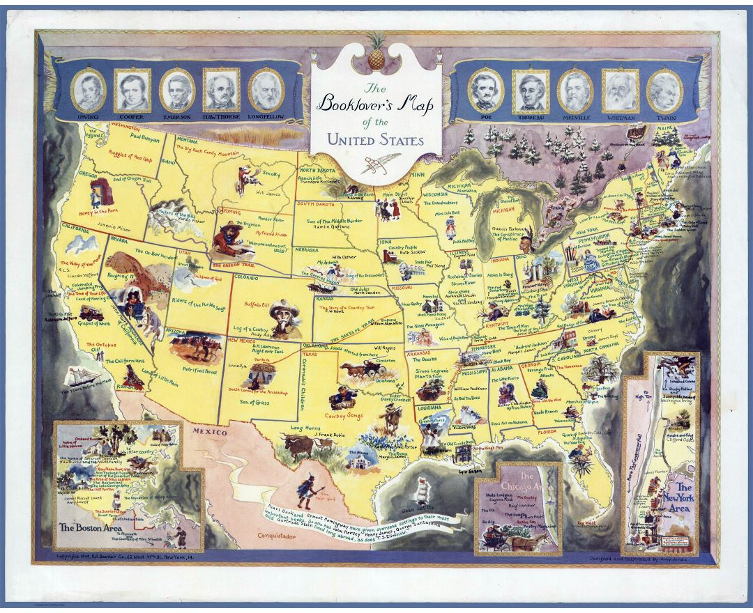 Large detailed booklover's map of the United States