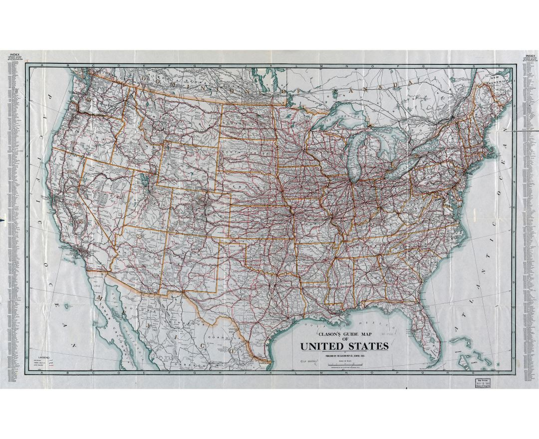 Large detailed Clason's guide map of the United States - 1919