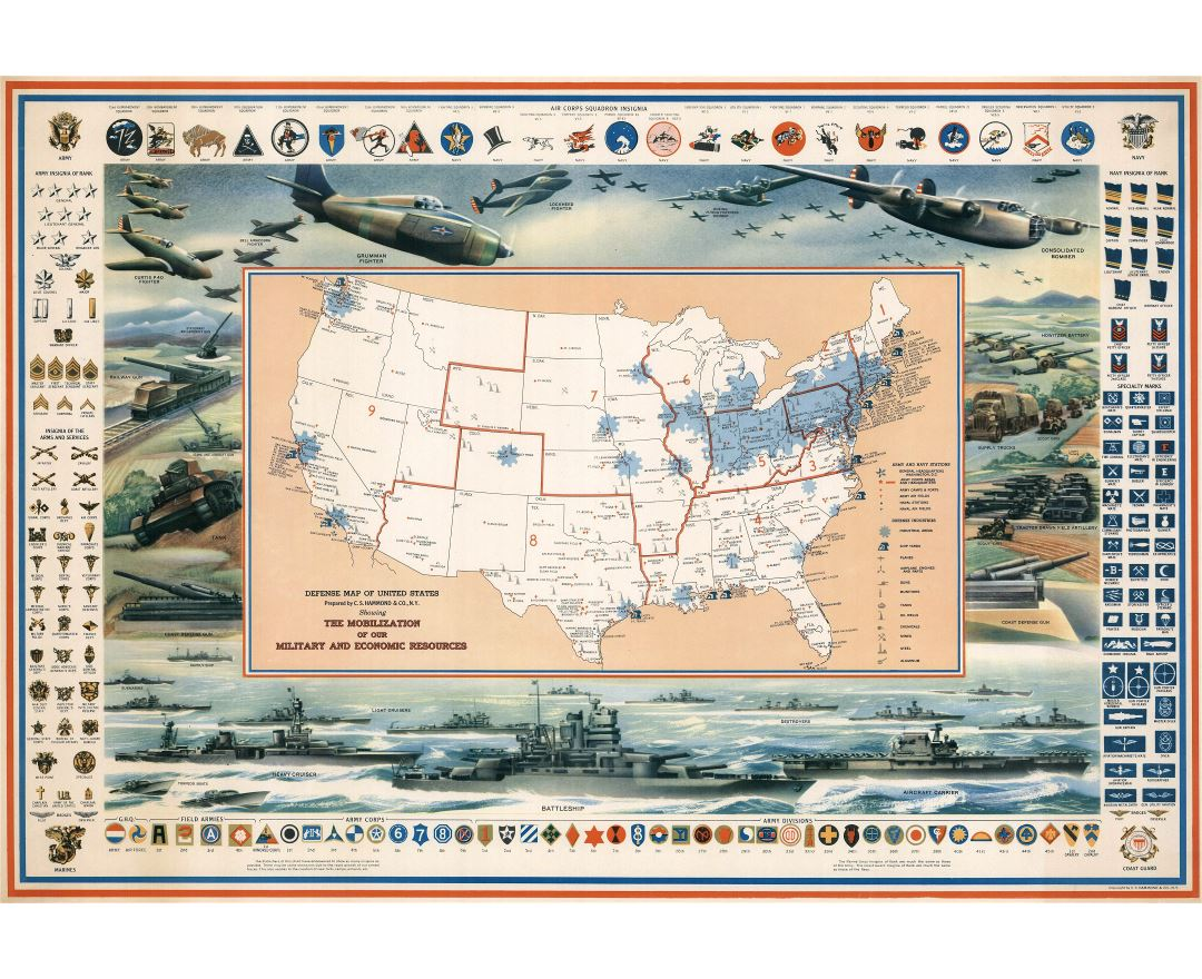 Large detailed defense map of the United States