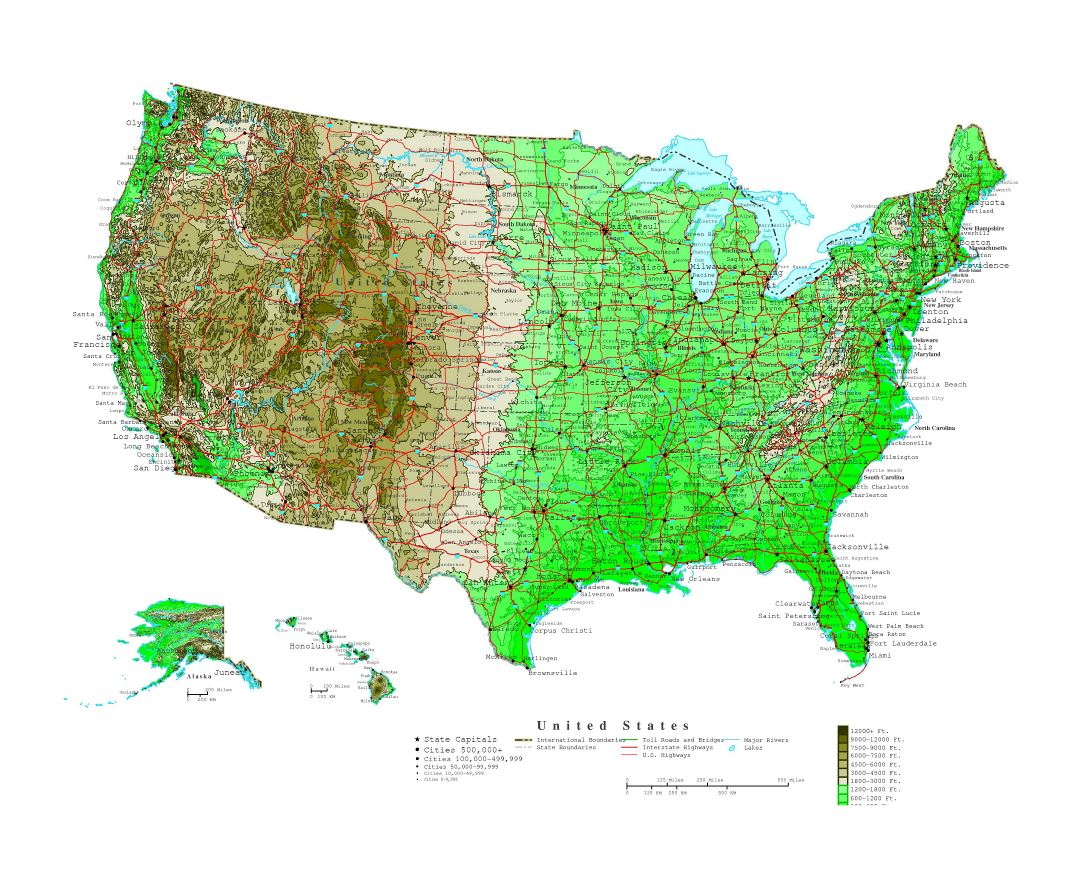 Maps Of USA Detailed Map Of United States Of America In English - Topographical map of us of 1783