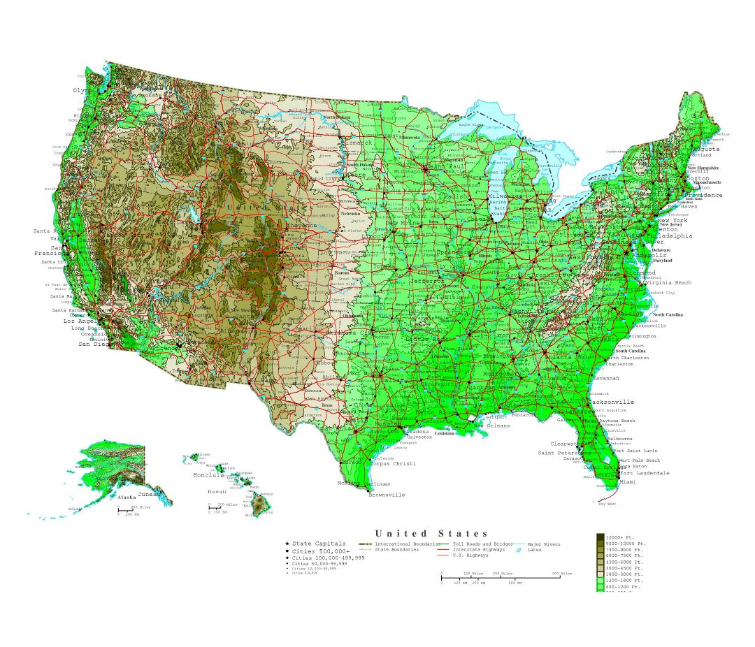 Large detailed elevation map of the United States with roads and cities