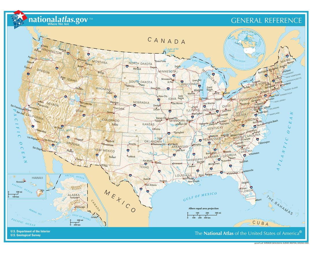 Large detailed general reference map of the USA - 2003