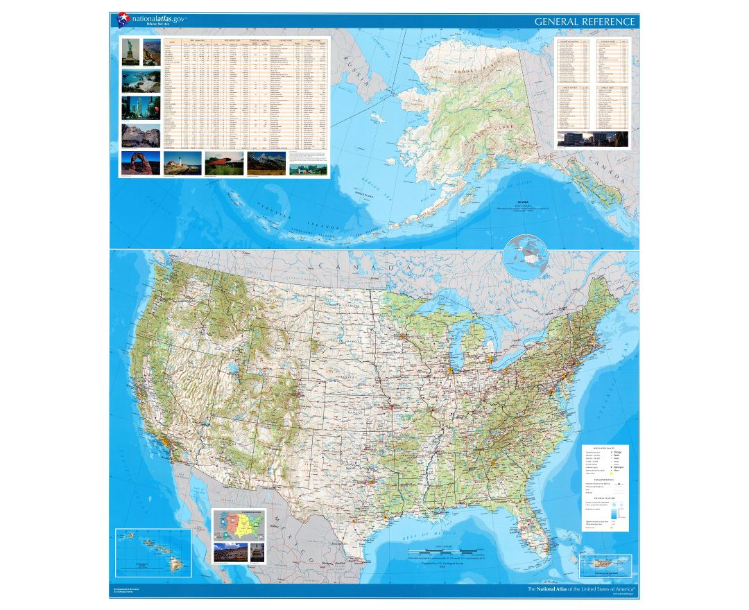 Large detailed general reference wall map of the USA - 2002