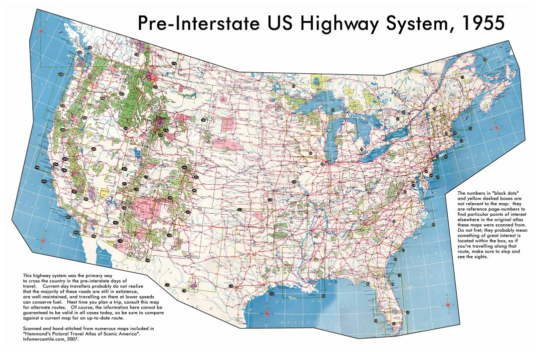 Large detailed map of USA highway system - 1955