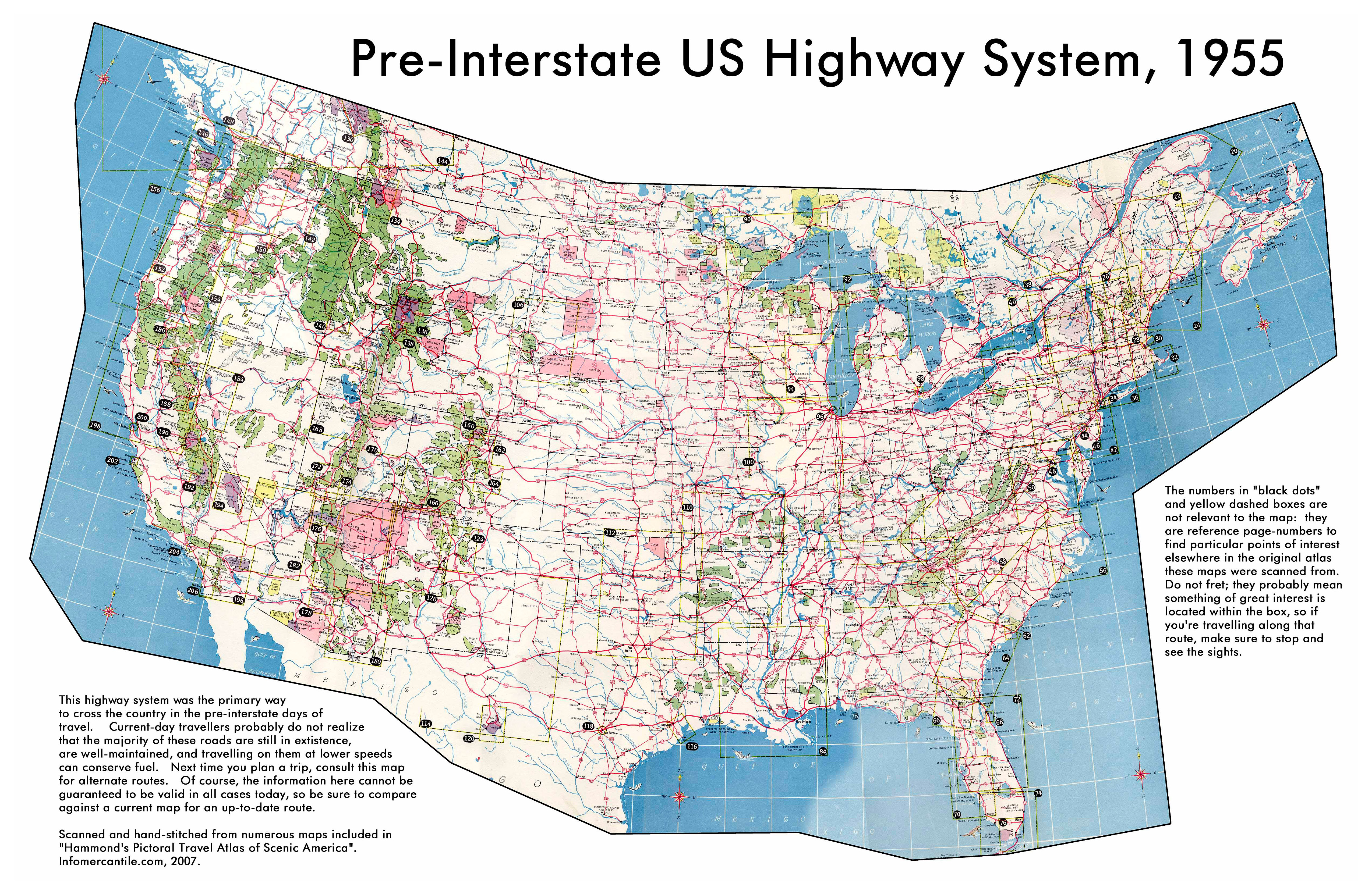large detailed map of usa highway system 1955
