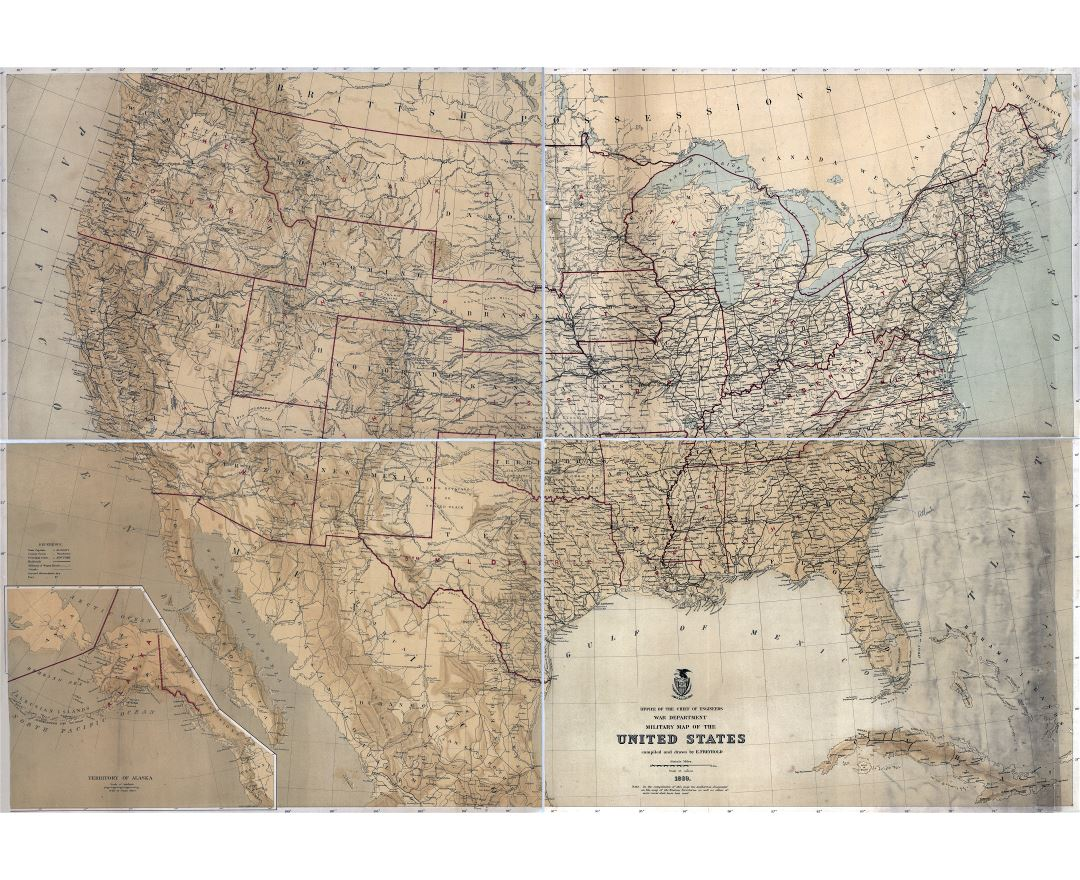 Large detailed old military map of the United States - 1869