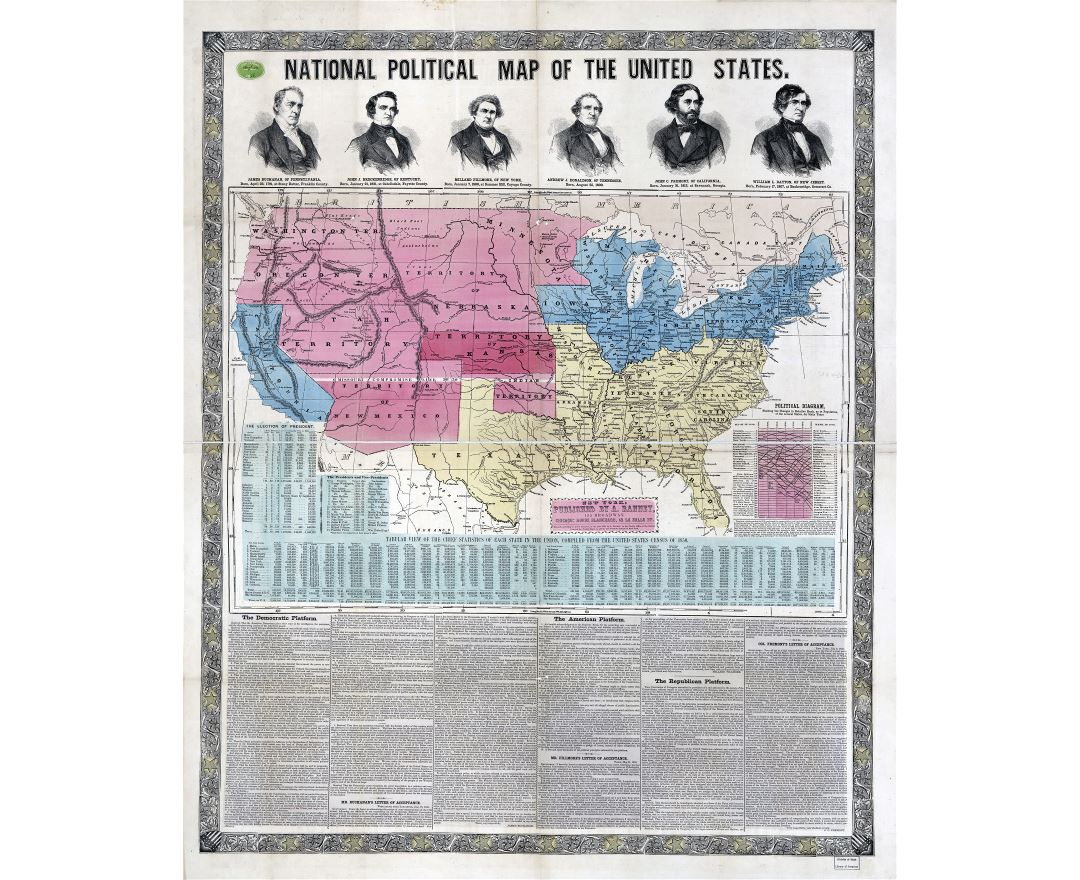 Large detailed old national political map of the United States