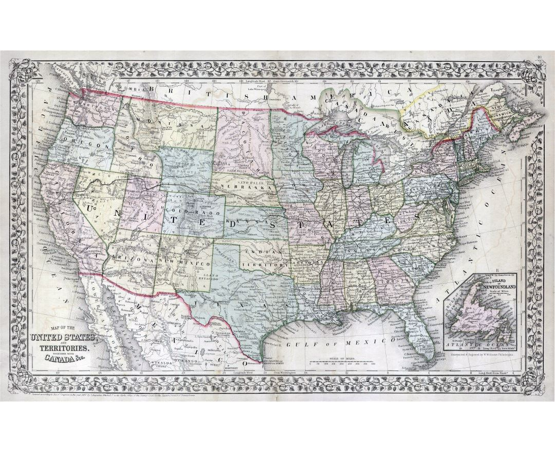 Large detailed old political and administrative map of the United States with other marks - 1867