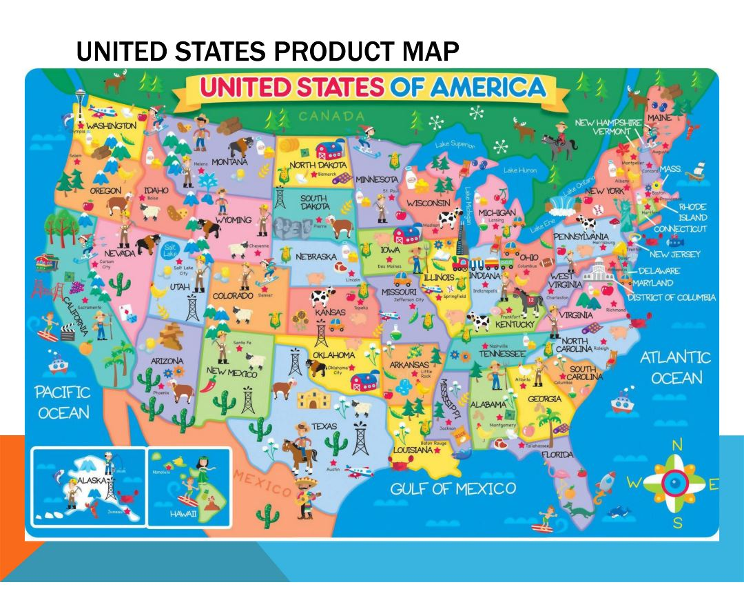 Large detailed product map of the United States