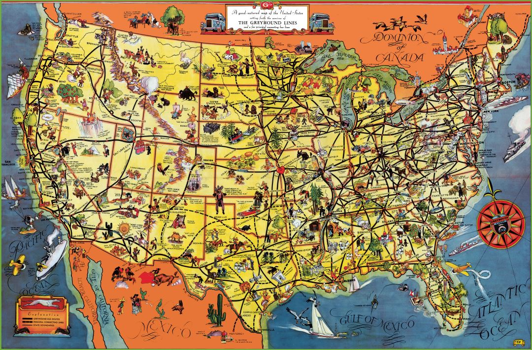 Large detailed tourist illustrated map of the USA