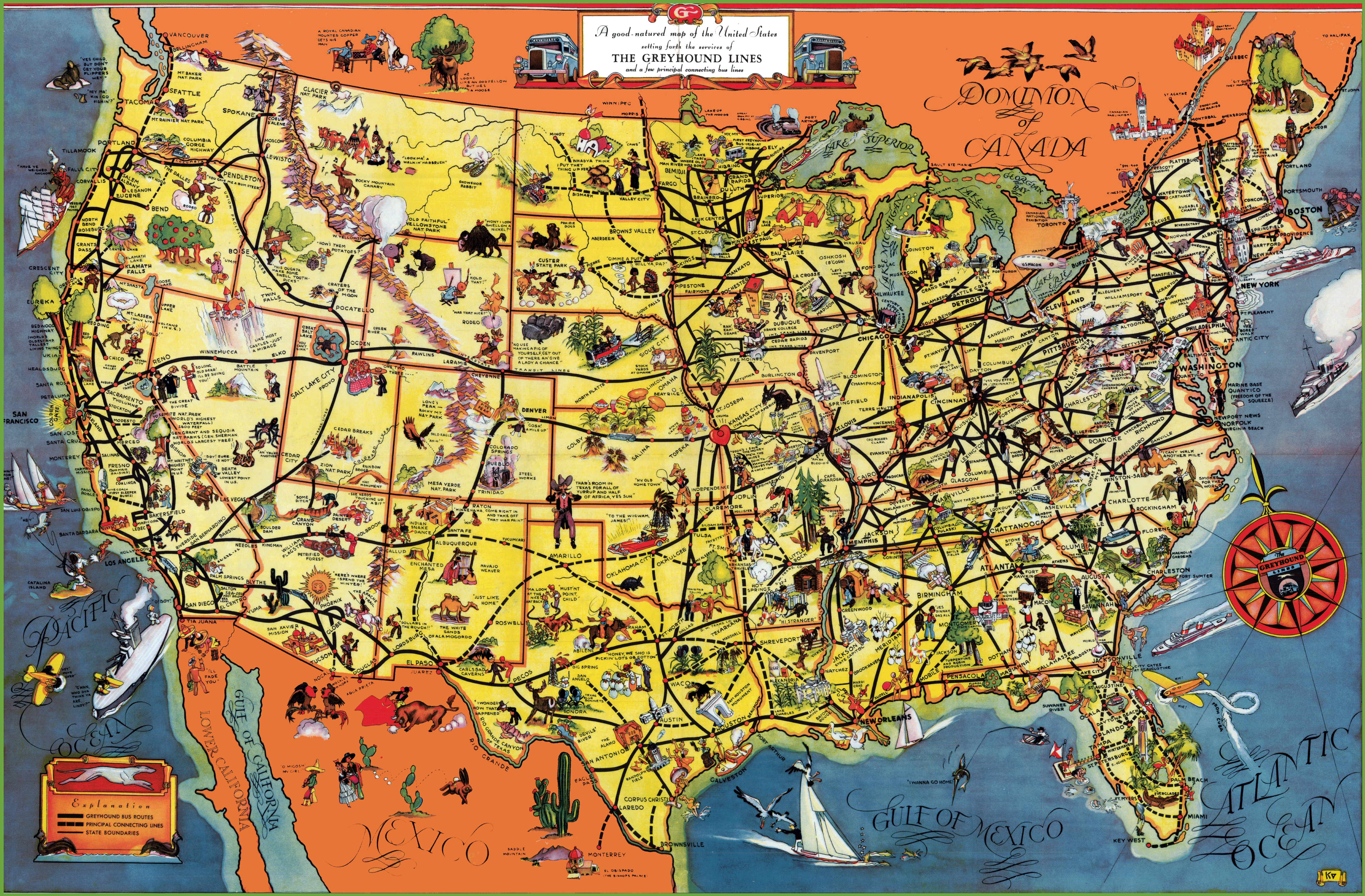 Large detailed tourist illustrated map of the USA USA United