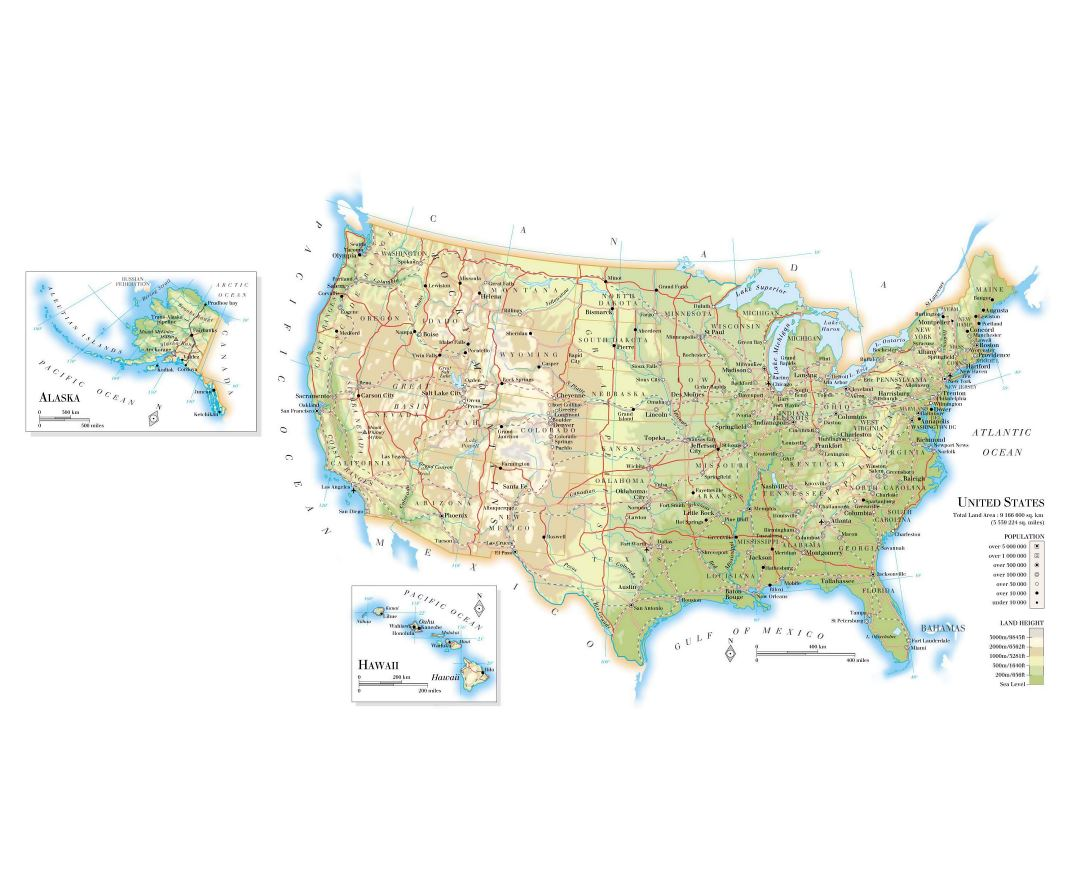 Large elevation map of the United States with roads, railroads, major cities and airports