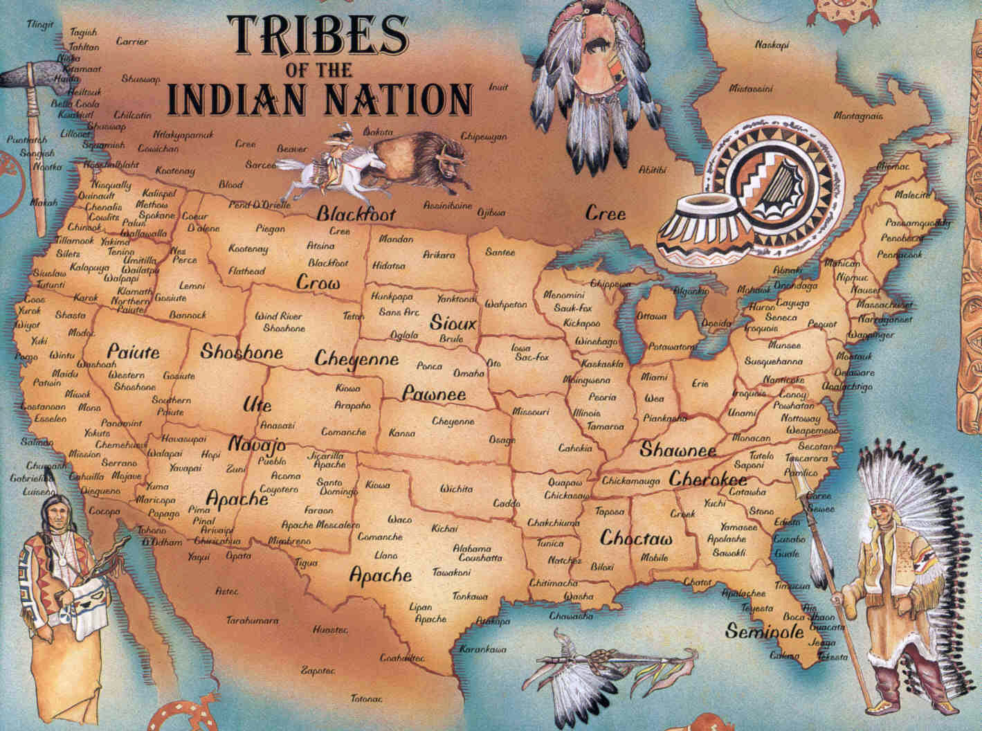 Native American Map Of North America Large Native American map | USA (United States of America) | North