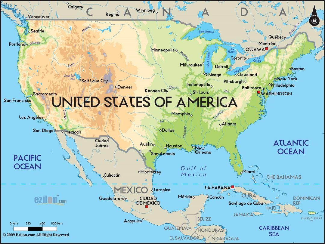 Large physical map of the united states with major cities for United states of america cities