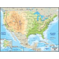 Large detailed elevation map of the United States with roads ...