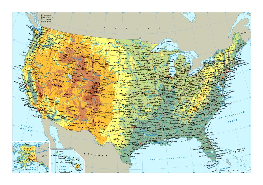 Large physical map of the USA with roads and major cities in russian USA U