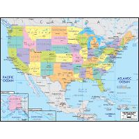 Large detailed elevation map of the United States with roads and ...