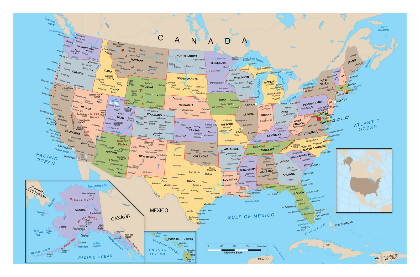 Www Map Of The United States.Large Political And Administrative Map Of The United States Usa